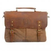 Geanta laptop din piele naturala si material textil URBAN BAG Oxford – Coffee
