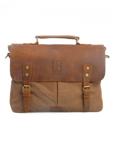 Geanta laptop din piele naturala si material textil URBAN BAG Oxford - Coffee
