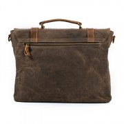 Geanta laptop din piele naturala si material textil cerat URBAN BAG Stockholm - Coffee