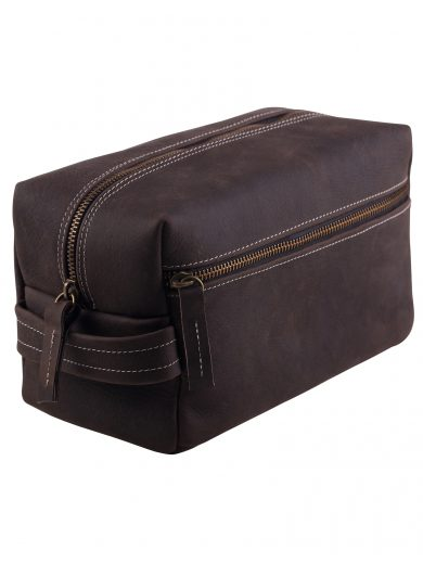 Toiletry bag hand made din piele naturala URBAN BAG Travel XL – Dark Brown